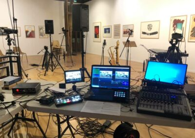 Livestreaming setup including Atem Mini Pro and Soundcraft Mixing desk